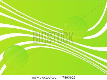 Green abstract background with spheres