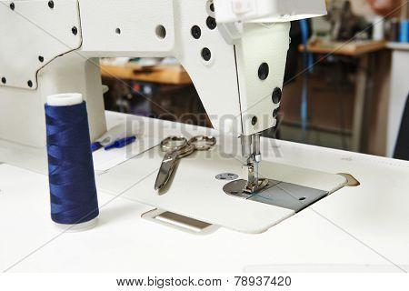 Tailor or sewing set. Cloth, machine, scissors, measure tape