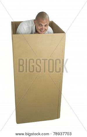 Man packed in a cardboard box isolated on white poster