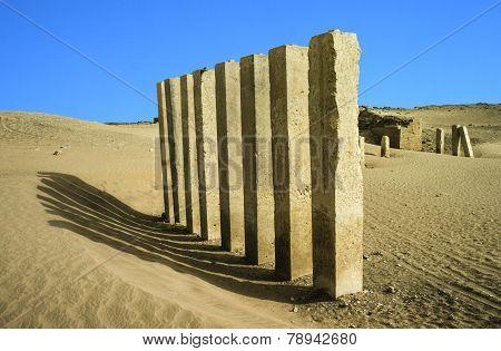 5 pillars of moon temple near Marib Yemen