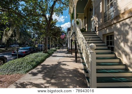 Traditional residential architecture in Savannah, GA.