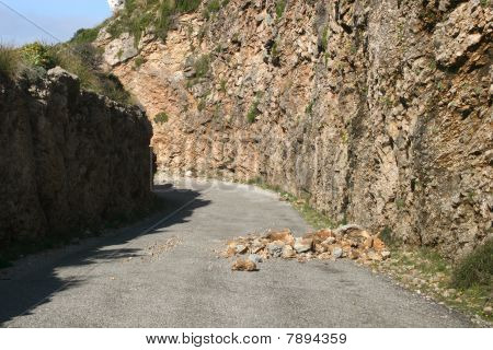 Dangerous Boulders at a country road