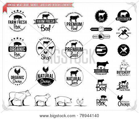 Vintage meat labels, badges and design elements