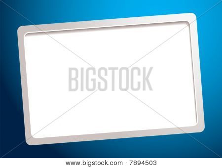 Blue background with white business card template and shadow poster