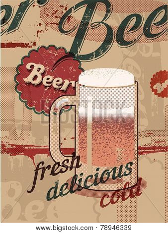 Vintage style poster with a beer mug. Retro vector beer poster.