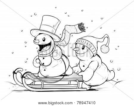 Snowmen on sled. Winter Activities