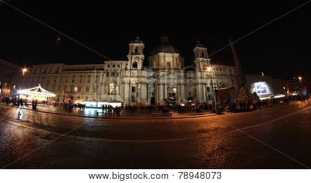 Piazza Navona At Night In Rome