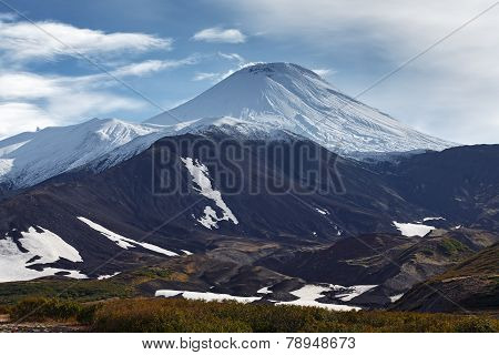 Picturesque mountain landscape of Kamchatka: Avachinsky Volcano - active volcano. Russia Far East. poster