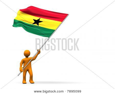 Illustration looks a fan of Ghana with a big flag. poster