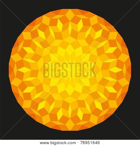 Sun from a Penrose Pattern On Black Background