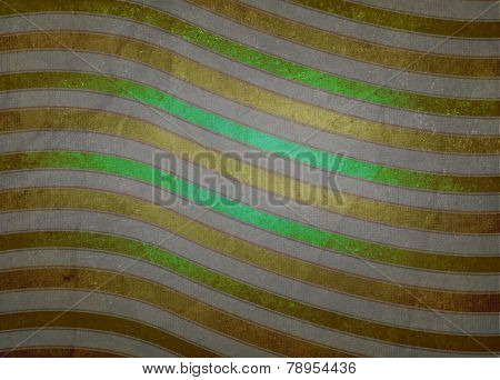 abstract green gold and white background striped pattern of wavy curved lines and faded texture