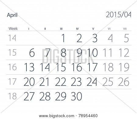 2015 Year Calendar. April