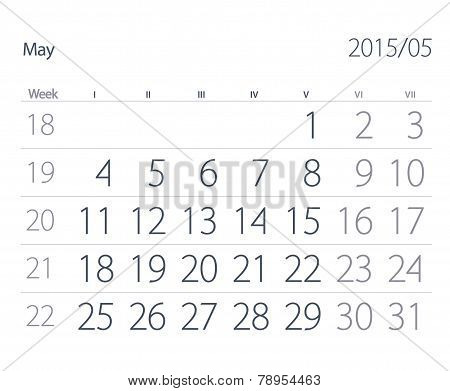 2015 Year Calendar. May