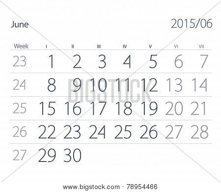 2015 Year Calendar. June