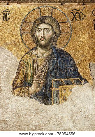 Mosaic on Hagia Sophia's inside wall