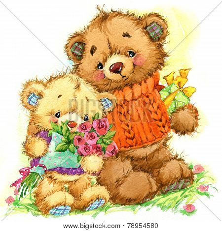 Cute teddy bear. Background for card. watercolor