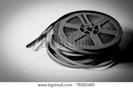 Pile Of 8Mm Super8 Movie Reels In Black And White