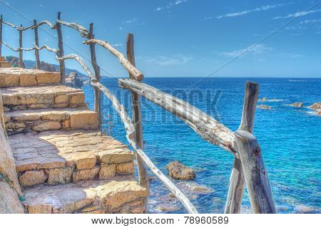Wooden Banister By The Sea