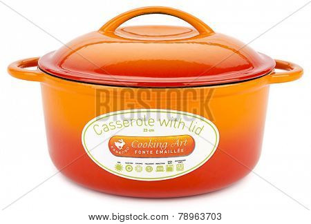 Ankara, Turkey - October 28, 2014: Essenso orange cast iron cooking pot with cover isolated on white background.