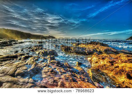 scenic shore in Porto Ferro beach Italy poster