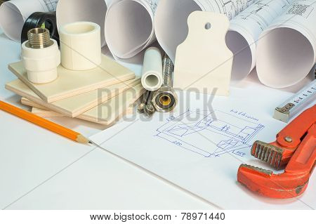 Drawing rolls, construction hardware tools, appliances and materials composition