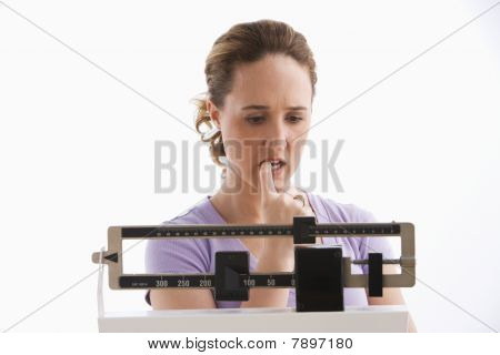 Woman Standing on a Scale - Isolated