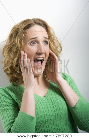 Woman with Surprised Facial Expression