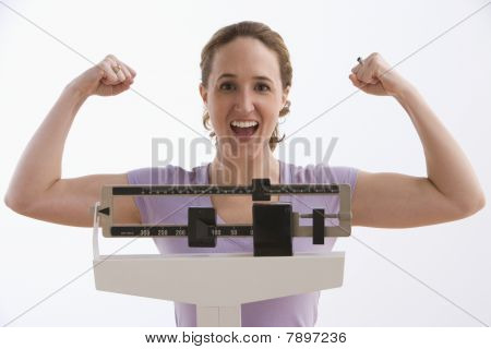 Woman Happy with Her Scale Results - Isolated