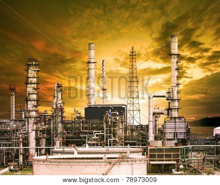 Exterior Building Structure Of Oil Refinery Plant In Heavy Petrochemical Industry Plant