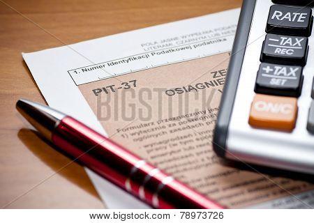 Polish Tax Form. Accounting
