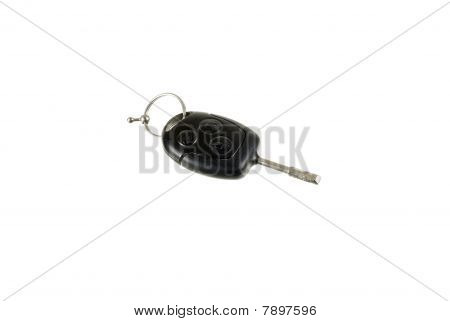Car Key Isolated On The White Background