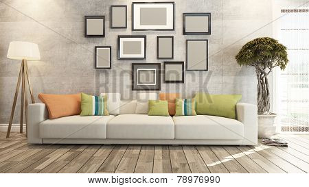 Living Room Or Saloon Interior Design 3D Rendering