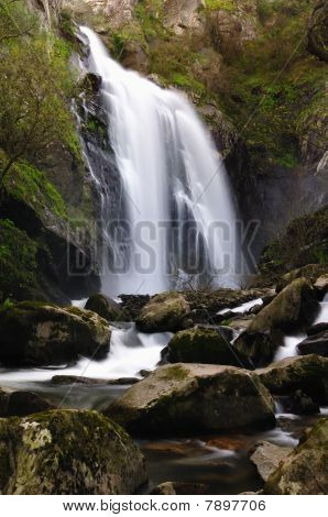 River Toxa waterfall, in Silleda, Pontevedra, Spain poster
