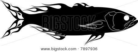 Flaming Bluefish Graphic