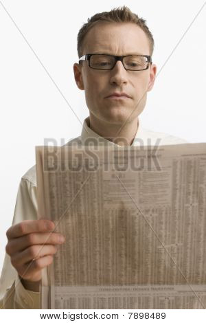 Businessman Reading Newspaper - Isolated