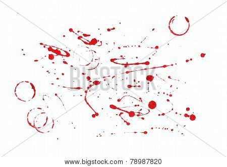 Red Paint Splatters  On White Background
