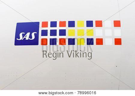 COPENHAGEN  - SEP 20: close up SAS logo on jet flight on September 20, 2014 in Copenhagen, Denmark. SAS, is the flag carrier of Sweden, Norway and Denmark, and the largest airline in Scandinavia.