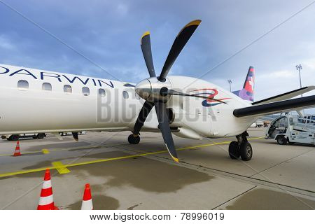 LEIPZIG, GERMANY - SEP 11: Darwin Airline Saab 2000 on September 11, 2014. Darwin Airline, operating under the brand name Etihad Regional since January 2014
