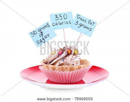 Delicious cake with calories count labels on color plate isolated on white background
