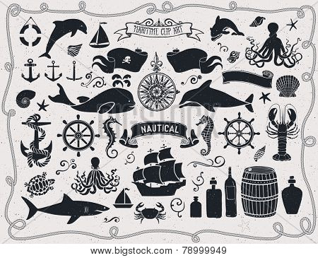 Maritime Clip Art - Set of nautical icons and design elements, including pirate flag, ship wheel, seahorse, sailing ships, octopus, seashells, whale, shark and dolphin; black and white poster