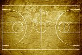 Grunge basketball court with concrete texture and vignette. poster