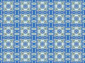 blue bold mosaic pattern with squares and flowers, azure, yellow, for fabric, tile, background, wrapping paper poster