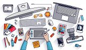 Flat design vector illustration of modern creative office workspace workplace of a designer. The office of a creative worker. Flat minimalistic style and color with long shadows for Web & Mobile App poster