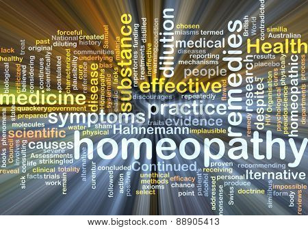 Background text pattern concept wordcloud illustration of homeopathy remedies glowing light