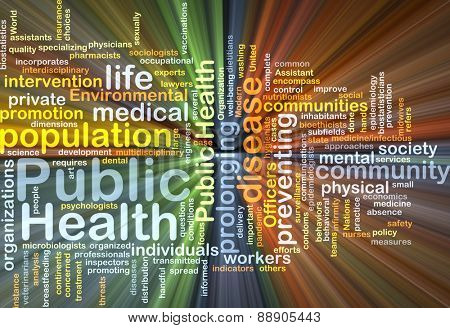 Background text pattern concept wordcloud illustration of public health glowing light