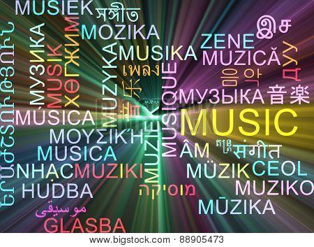 Background concept wordcloud multilanguage international many language illustration of music glowing light