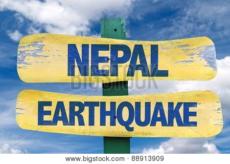 Nepal Earthquake sign with sky background