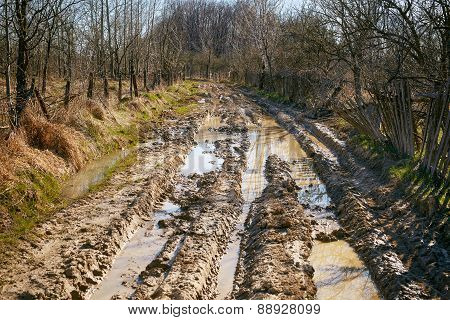 Muddy Wet Countryside Road