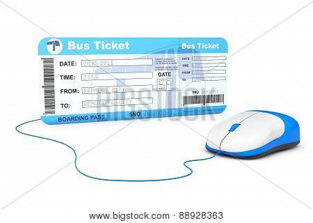 Online Booking Concept. Bus Boarding Pass Ticket And Computer Mouse