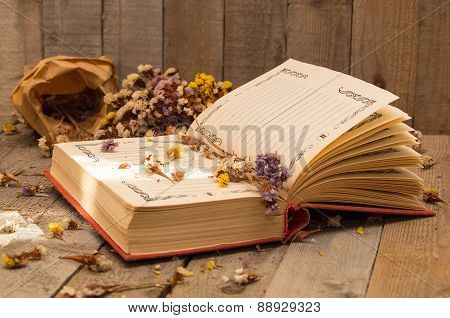 Book To Write Notes With Dried Flowers.